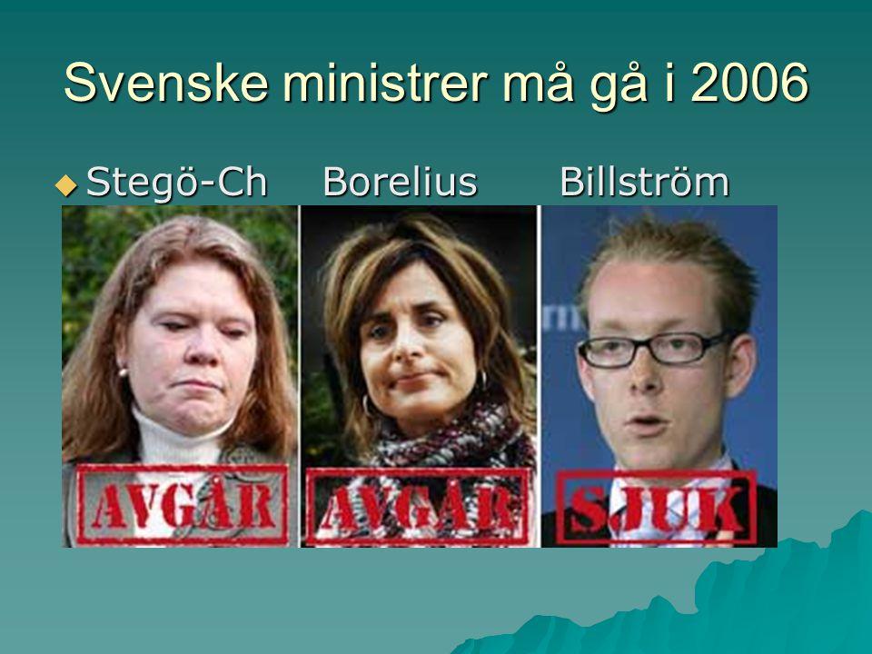 Svenske ministrer må gå i 2006  Stegö-Ch Borelius Billström