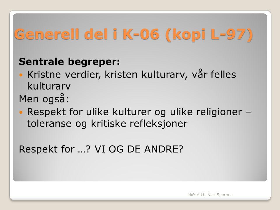 Generell del i K-06 (kopi L-97) Sentrale begreper: Kristne verdier, kristen kulturarv, vår felles kulturarv Men også: Respekt for ulike kulturer og ul