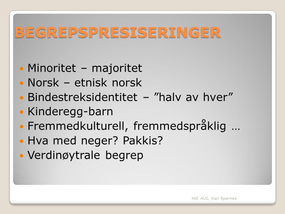 BEGREPSPRESISERINGER Minoritet – majoritet Norsk – etnisk norsk Bindestreksidentitet – halv av hver Kinderegg-barn Fremmedkulturell, fremmedspråklig … Hva med neger.