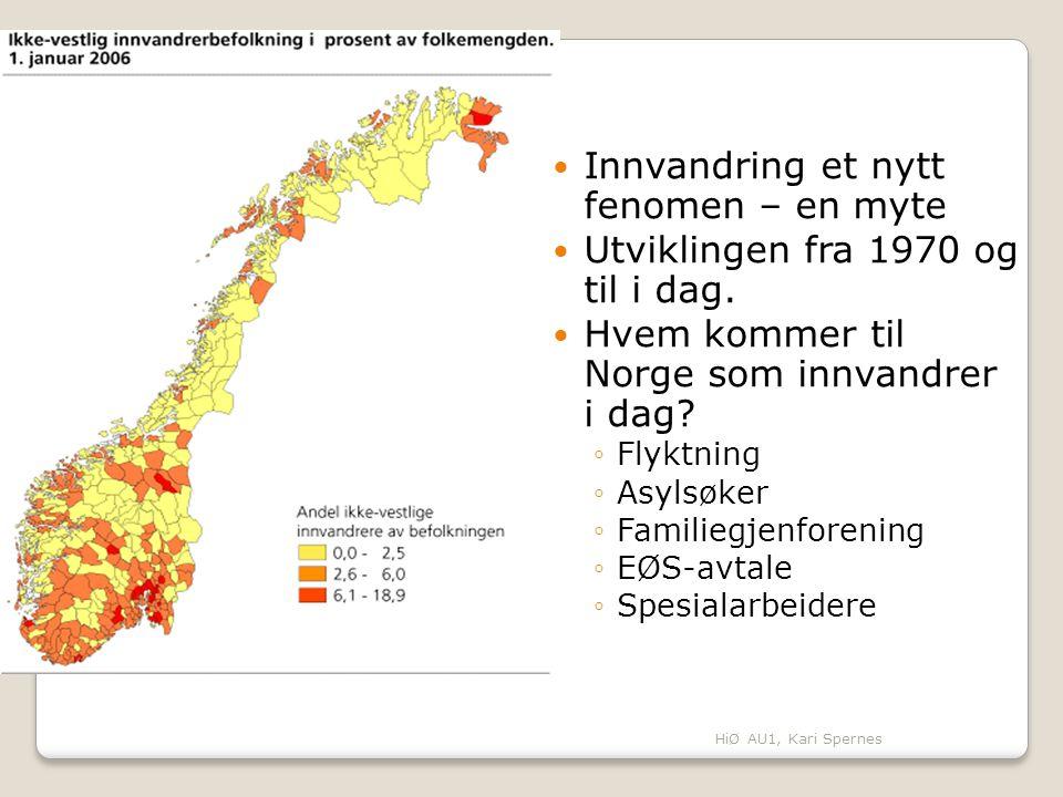 Innvandring et nytt fenomen – en myte Utviklingen fra 1970 og til i dag. Hvem kommer til Norge som innvandrer i dag? ◦Flyktning ◦Asylsøker ◦Familiegje