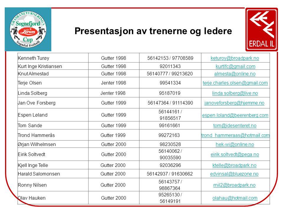 Presentasjon av trenerne og ledere Kenneth TurøyGutter 199856142153 / 97708589keturoy@broadpark.no Kurt Inge KristiansenGutter 199892011343kurtlfc@gma