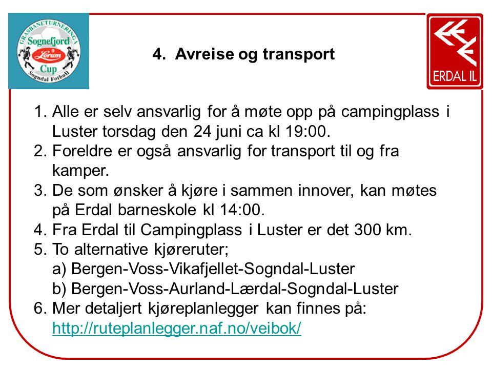 4. Avreise og transport 1.Alle er selv ansvarlig for å møte opp på campingplass i Luster torsdag den 24 juni ca kl 19:00. 2.Foreldre er også ansvarlig
