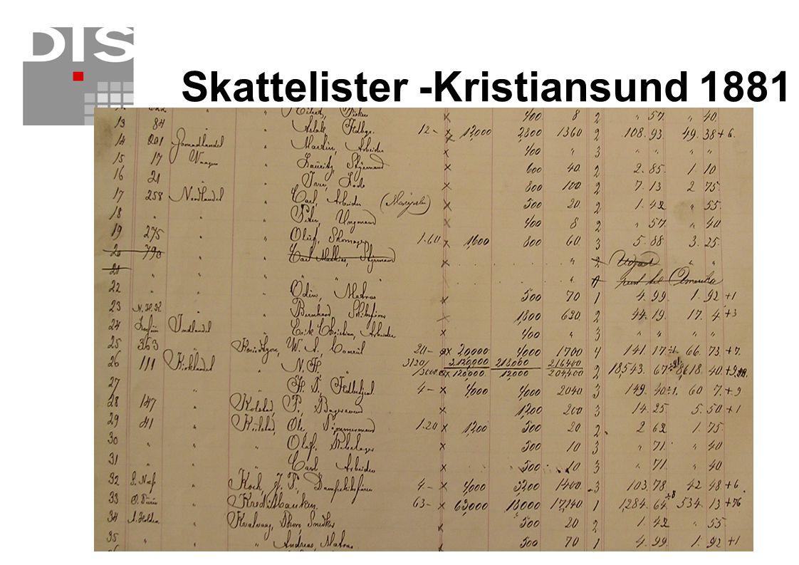 Skattelister -Kristiansund 1881