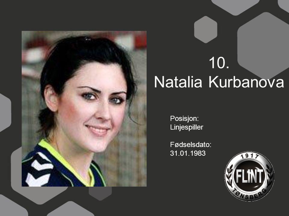 10. Natalia Kurbanova Posisjon: Linjespiller Fødselsdato: 31.01.1983