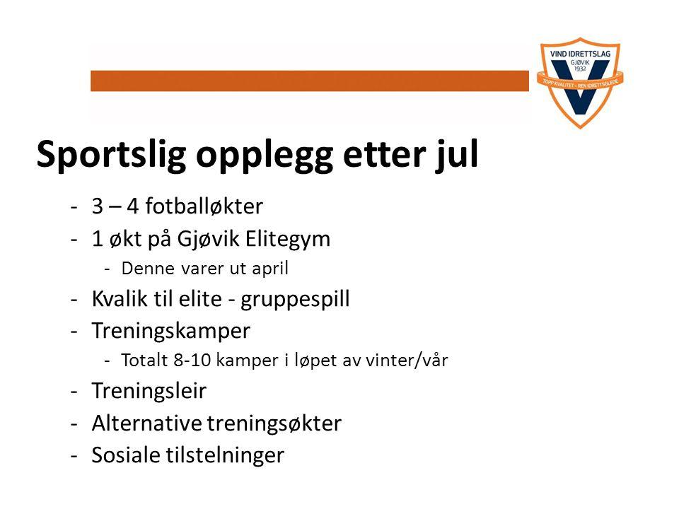 Sportslig opplegg etter jul -3 – 4 fotballøkter -1 økt på Gjøvik Elitegym -Denne varer ut april -Kvalik til elite - gruppespill -Treningskamper -Total
