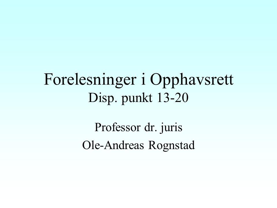 Overgang av opphavsrett i arbeidsforhold Ragnar Knoph (Åndsretten s.