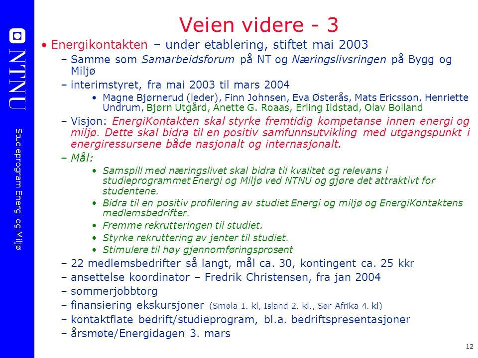 Studieprogram Energi og Miljø 12 Veien videre - 3 Energikontakten – under etablering, stiftet mai 2003 –Samme som Samarbeidsforum på NT og Næringslivs