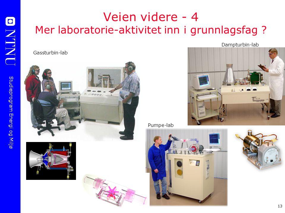 Studieprogram Energi og Miljø 13 Veien videre - 4 Mer laboratorie-aktivitet inn i grunnlagsfag ? Gassturbin-lab Dampturbin-lab Pumpe-lab