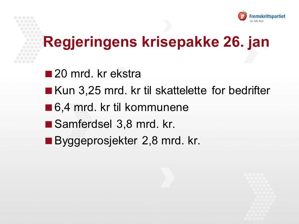 Regjeringens krisepakke 26. jan  20 mrd. kr ekstra  Kun 3,25 mrd.