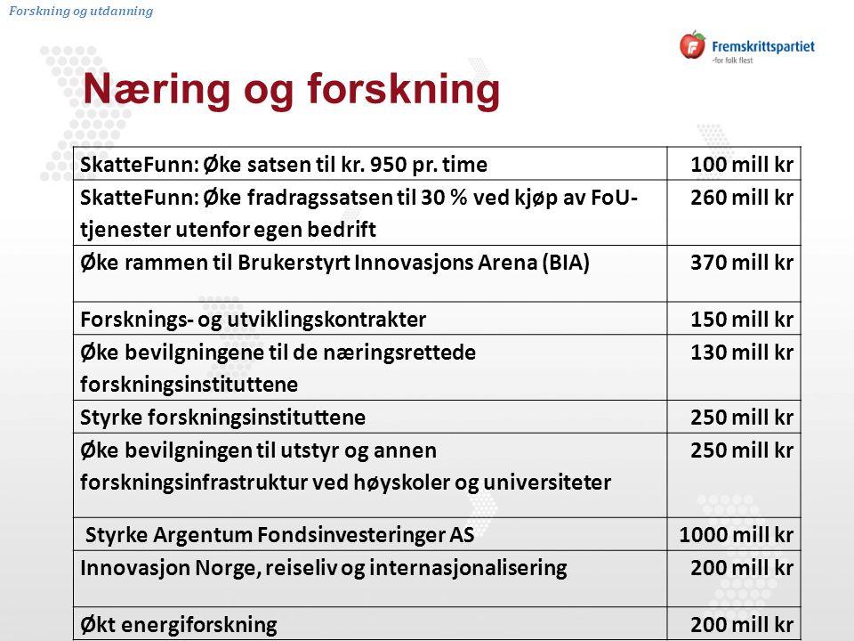 Næring og forskning SkatteFunn: Øke satsen til kr.