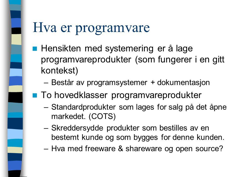 Hva er programvare Hensikten med systemering er å lage programvareprodukter (som fungerer i en gitt kontekst) –Består av programsystemer + dokumentasjon To hovedklasser programvareprodukter –Standardprodukter som lages for salg på det åpne markedet.