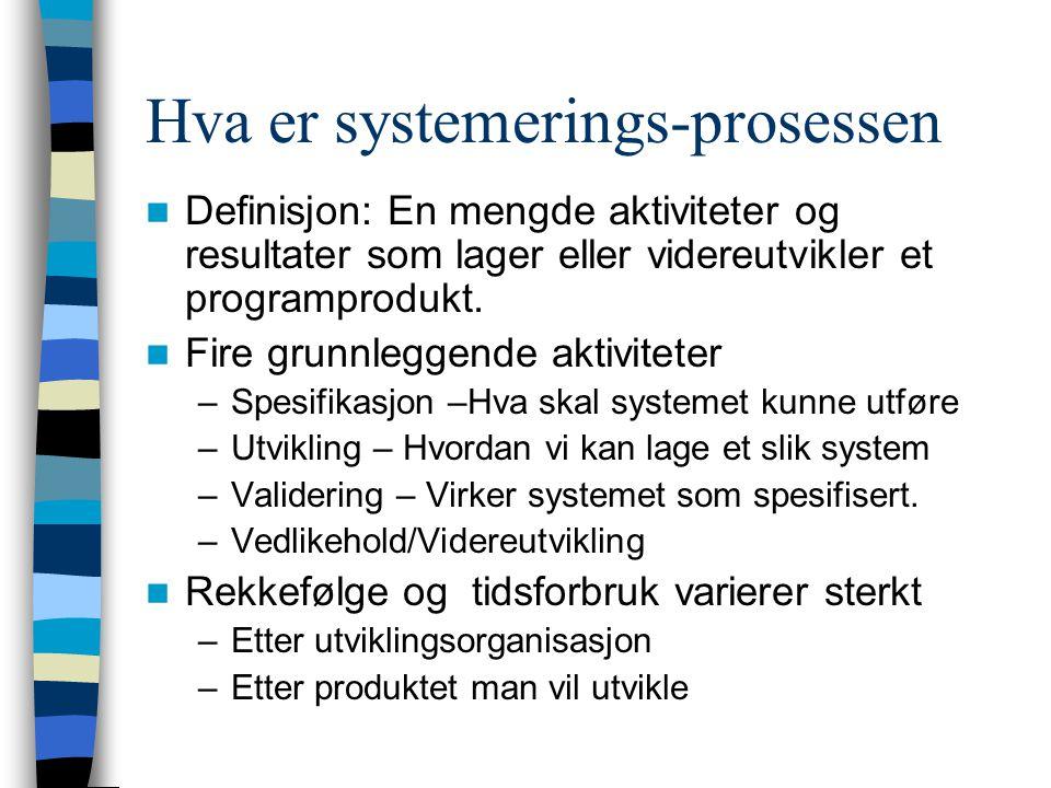 Hva er systemerings-prosessen Definisjon: En mengde aktiviteter og resultater som lager eller videreutvikler et programprodukt. Fire grunnleggende akt