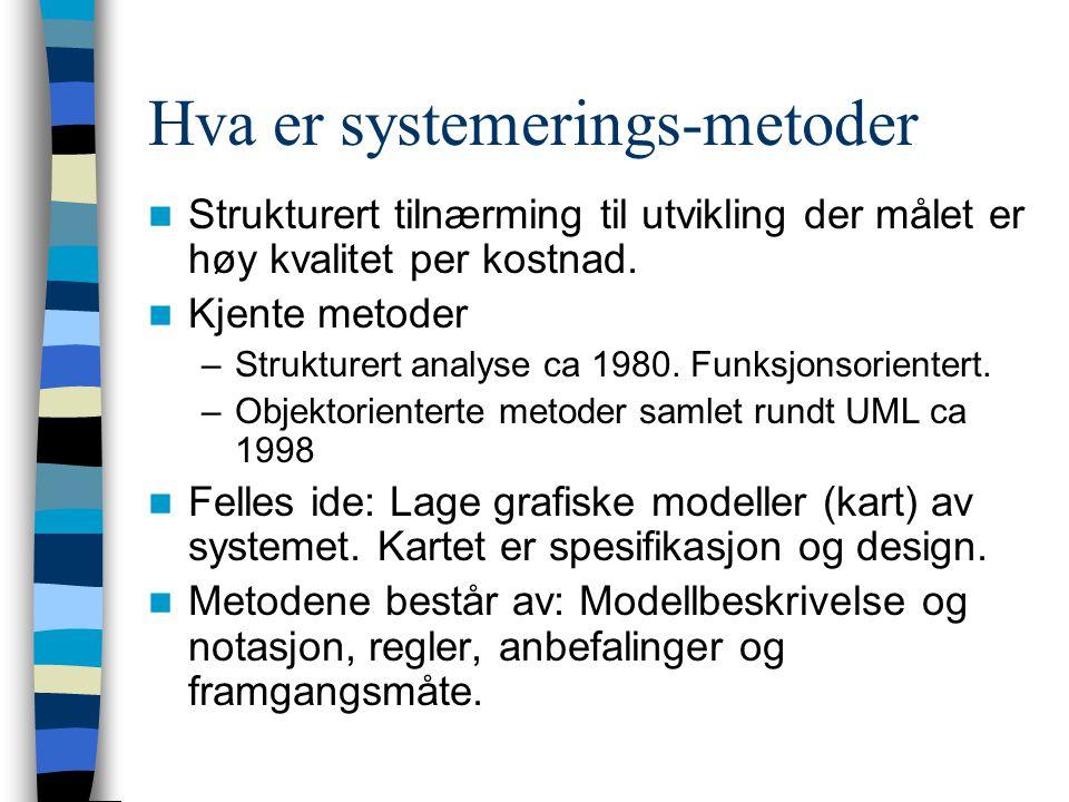 Hva er systemerings-metoder Strukturert tilnærming til utvikling der målet er høy kvalitet per kostnad. Kjente metoder –Strukturert analyse ca 1980. F