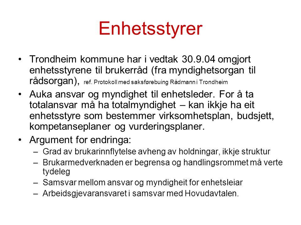 Enhetsstyrer Trondheim kommune har i vedtak 30.9.04 omgjort enhetsstyrene til brukerråd (fra myndighetsorgan til rådsorgan), ref. Protokoll med saksfø