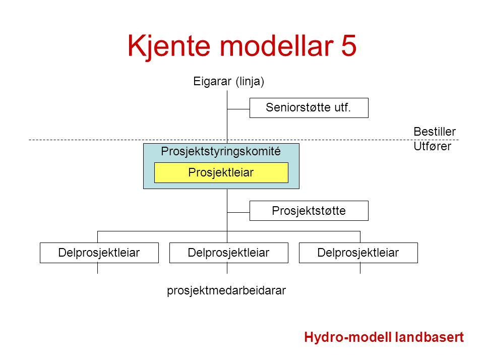 Prosjektstyringskomité Kjente modellar 5 Prosjektleiar Delprosjektleiar Prosjektstøtte prosjektmedarbeidarar Hydro-modell landbasert Eigarar (linja) B