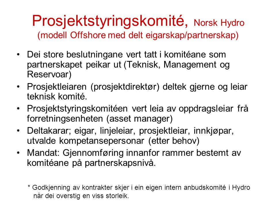 Prosjektstyringskomité, Norsk Hydro (modell Offshore med delt eigarskap/partnerskap) Dei store beslutningane vert tatt i komitéane som partnerskapet p
