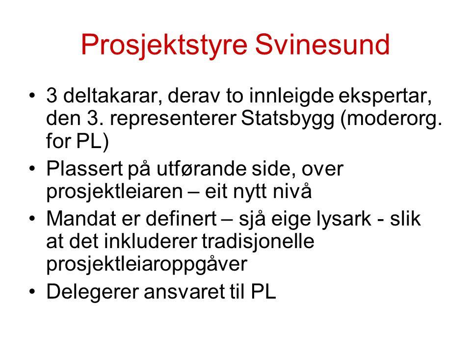 Prosjektstyre Svinesund 3 deltakarar, derav to innleigde ekspertar, den 3. representerer Statsbygg (moderorg. for PL) Plassert på utførande side, over