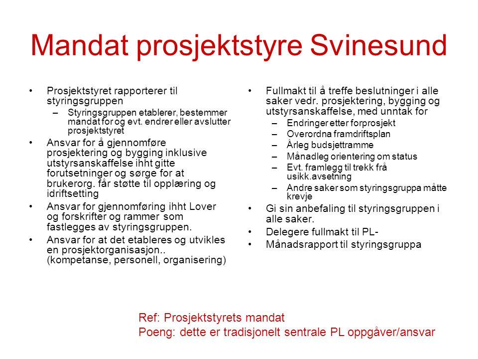 Mandat prosjektstyre Svinesund Prosjektstyret rapporterer til styringsgruppen –Styringsgruppen etablerer, bestemmer mandat for og evt. endrer eller av