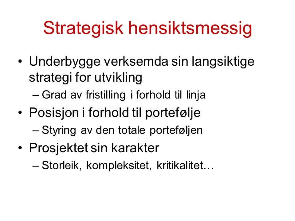 Strategisk hensiktsmessig Underbygge verksemda sin langsiktige strategi for utvikling –Grad av fristilling i forhold til linja Posisjon i forhold til