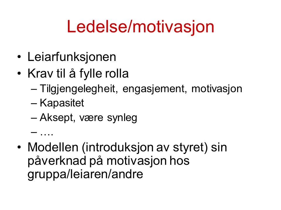 Ledelse/motivasjon Leiarfunksjonen Krav til å fylle rolla –Tilgjengelegheit, engasjement, motivasjon –Kapasitet –Aksept, være synleg –…. Modellen (int