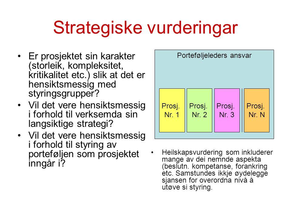 Strategiske vurderingar Er prosjektet sin karakter (storleik, kompleksitet, kritikalitet etc.) slik at det er hensiktsmessig med styringsgrupper? Vil