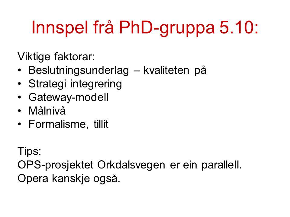 Innspel frå PhD-gruppa 5.10: Viktige faktorar: Beslutningsunderlag – kvaliteten på Strategi integrering Gateway-modell Målnivå Formalisme, tillit Tips