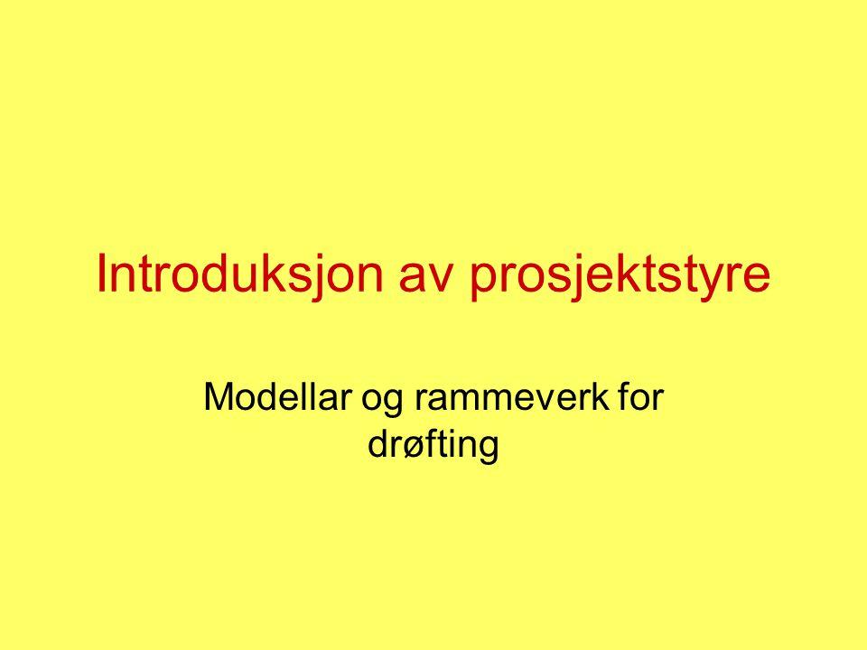 Introduksjon av prosjektstyre Modellar og rammeverk for drøfting