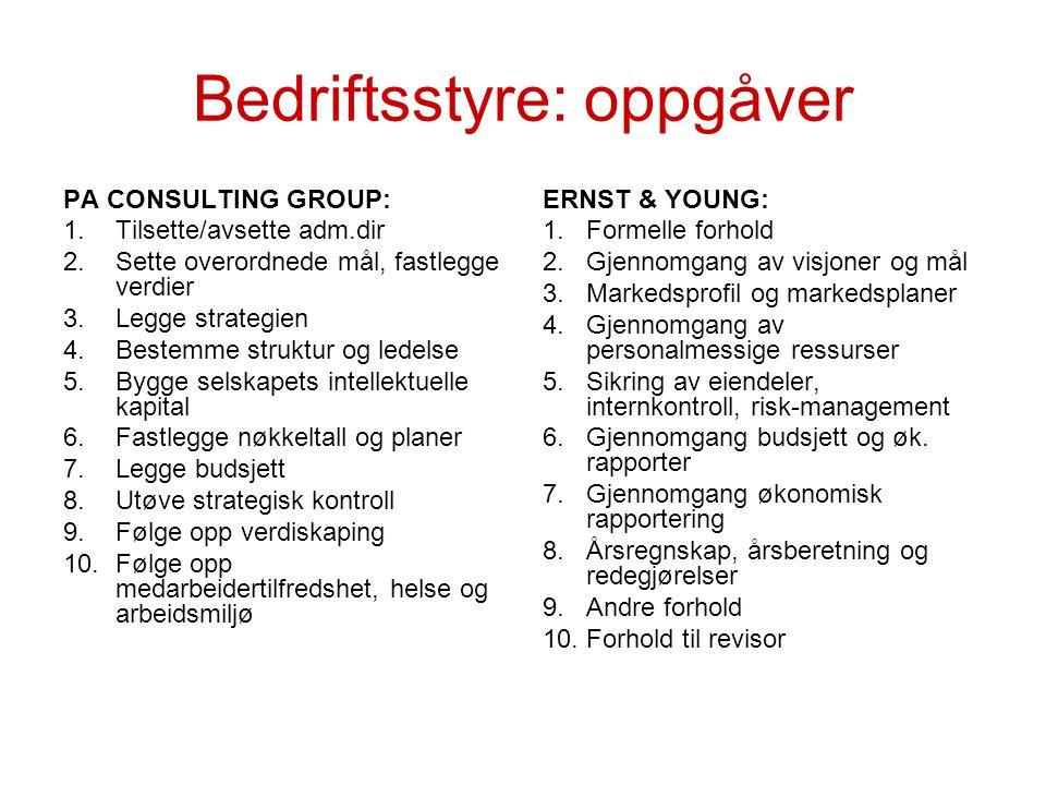 Prosjektstyringskomité, Norsk Hydro (modell Landbasert med 100% eigarskap) Styregruppe på utførande side Samansett etter ein kombinasjon av kompetansekriterier og representasjon (5-6 pers.) Aktiv i beslutningsprosessen Prosjekteigaren er formann , personifiserer ansvaret.
