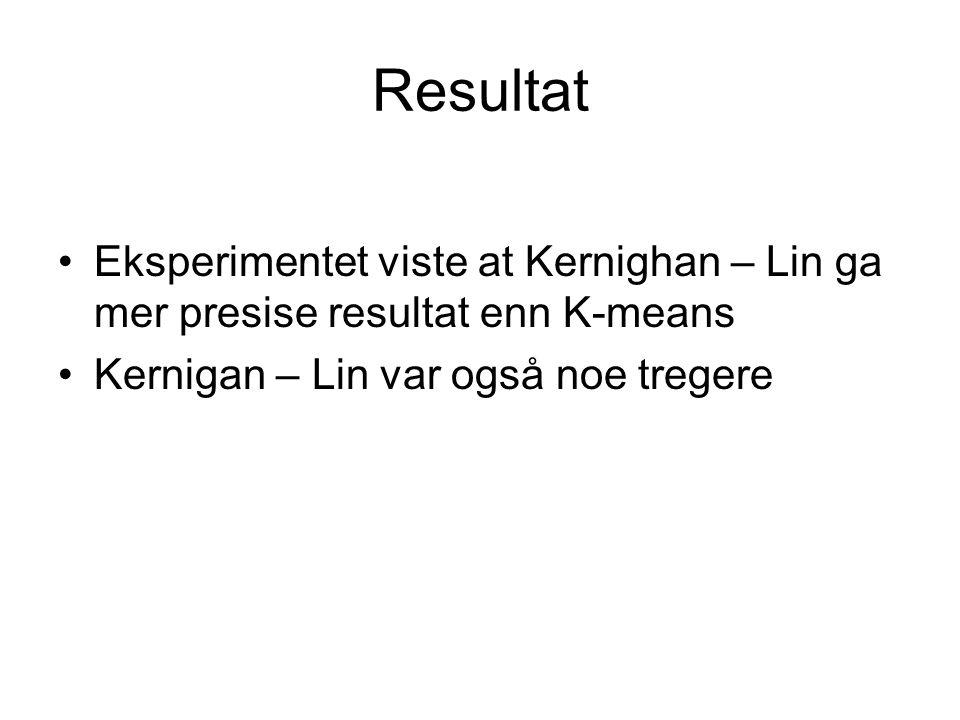 Resultat Eksperimentet viste at Kernighan – Lin ga mer presise resultat enn K-means Kernigan – Lin var også noe tregere