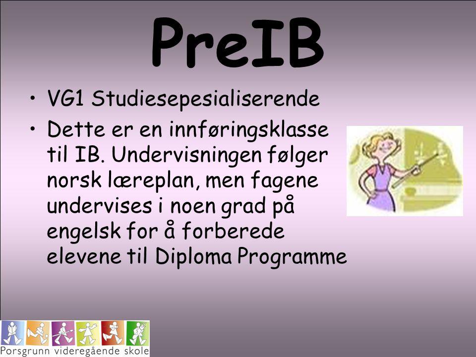 PreIB VG1 Studiesepesialiserende Dette er en innføringsklasse til IB. Undervisningen følger norsk læreplan, men fagene undervises i noen grad på engel