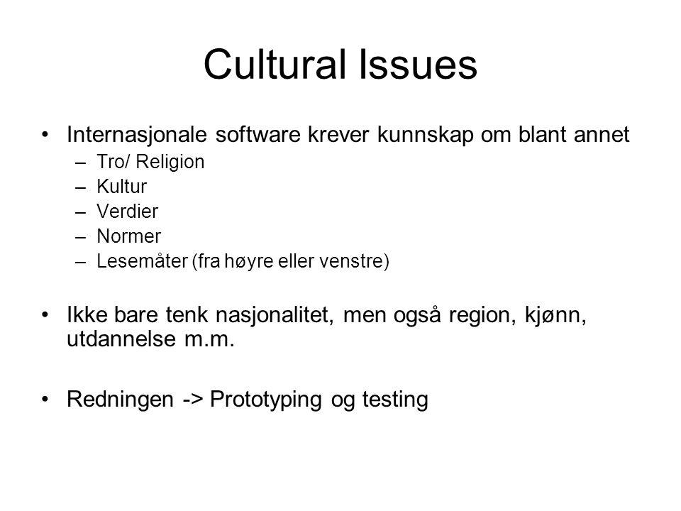 Cultural Issues Internasjonale software krever kunnskap om blant annet –Tro/ Religion –Kultur –Verdier –Normer –Lesemåter (fra høyre eller venstre) Ikke bare tenk nasjonalitet, men også region, kjønn, utdannelse m.m.