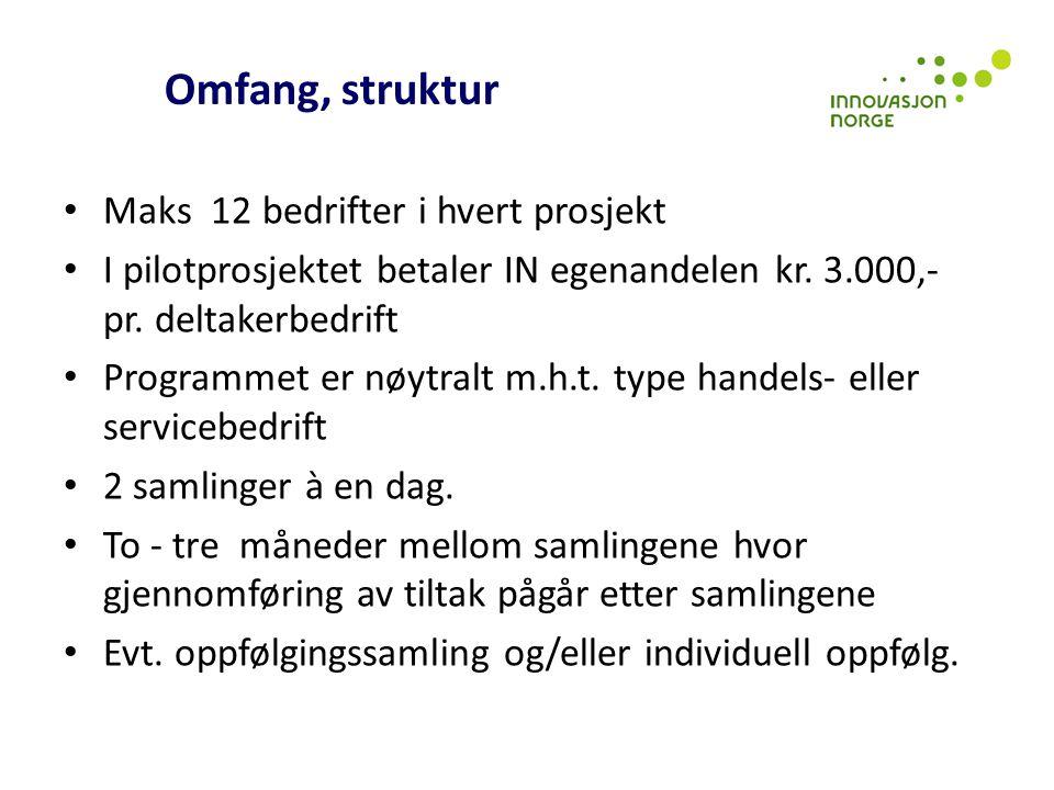 Omfang, struktur Maks 12 bedrifter i hvert prosjekt I pilotprosjektet betaler IN egenandelen kr. 3.000,- pr. deltakerbedrift Programmet er nøytralt m.
