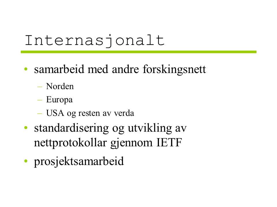 Internasjonalt samarbeid med andre forskingsnett –Norden –Europa –USA og resten av verda standardisering og utvikling av nettprotokollar gjennom IETF prosjektsamarbeid
