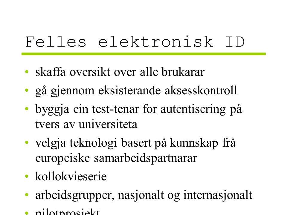 Felles elektronisk ID skaffa oversikt over alle brukarar gå gjennom eksisterande aksesskontroll byggja ein test-tenar for autentisering på tvers av universiteta velgja teknologi basert på kunnskap frå europeiske samarbeidspartnarar kollokvieserie arbeidsgrupper, nasjonalt og internasjonalt pilotprosjekt
