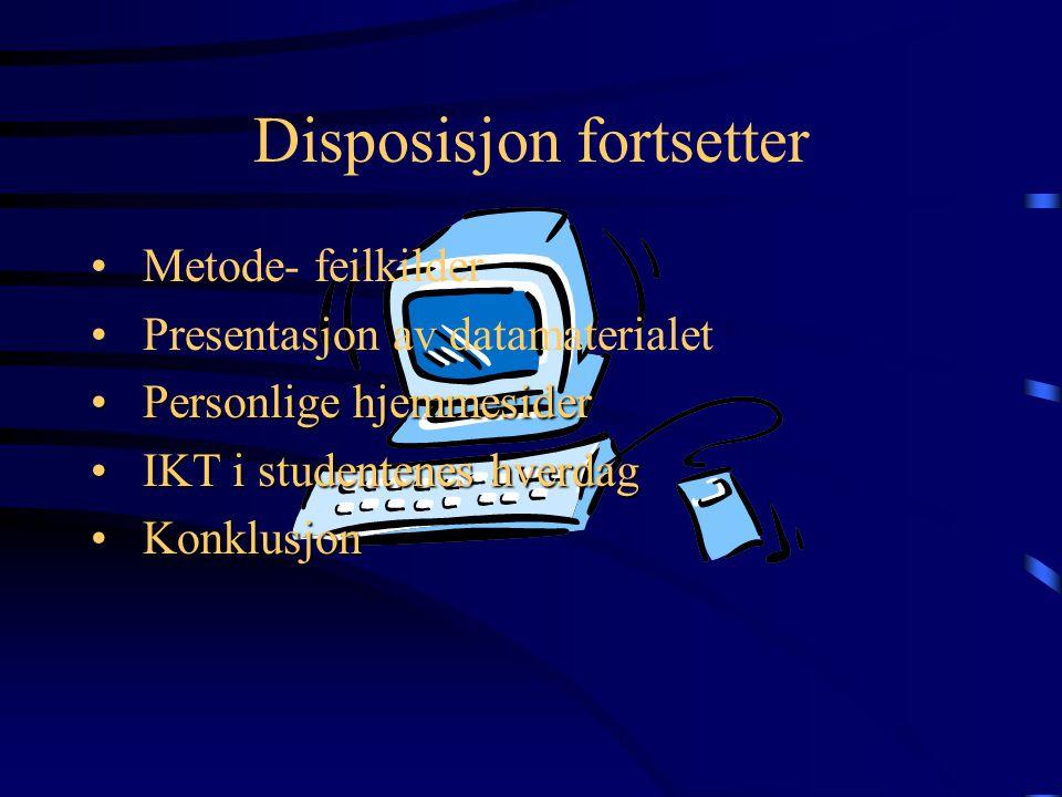Disposisjon Innledning Problemstilling Fagplan- og undervisningsplan Om arbeidskravet til førsteårsstudentene Rammebetingelser/kriterier for laging av hjemmeside