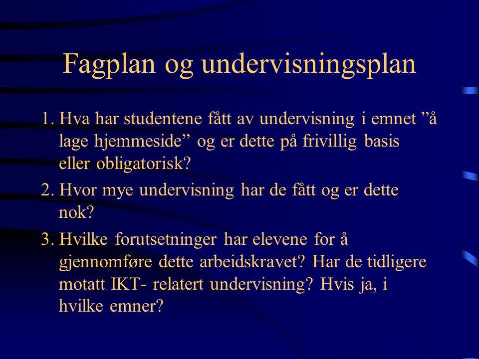 Problemstilling Vurdering av hjemmesidene til førsteårsstudentene ved Allmennlærerutdanningen, Hio: I hvilken grad tilfredsstiller nettsidene de formelle kravene.