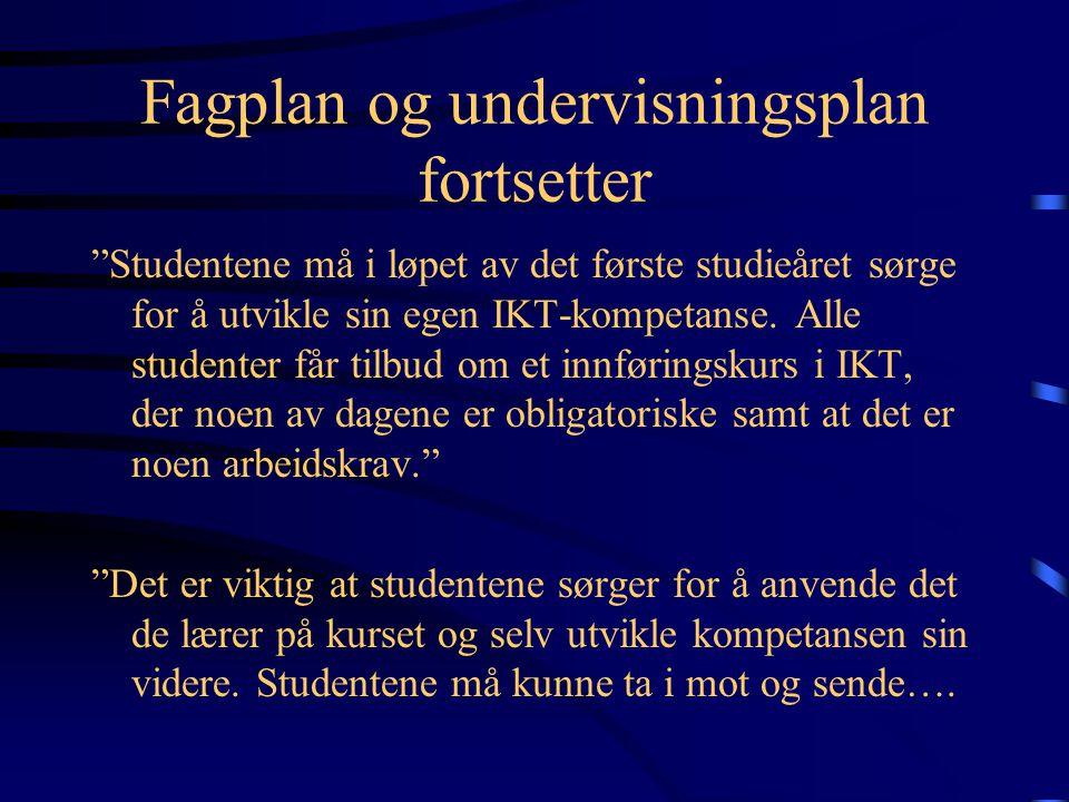 Fagplan og undervisningsplan fortsetter Kurs: Å lage hjemmeside 1.