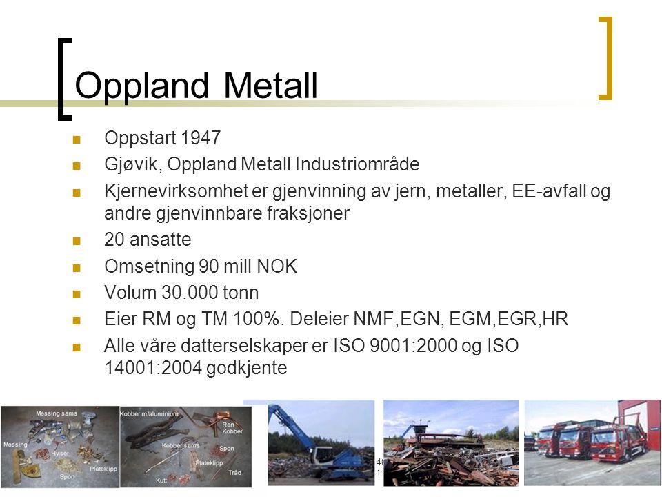 Oppland Metall AS, Postboks 46, 2801 Gjøvik. TLF:61187670. FAX:61170471 Oppland Metall Oppstart 1947 Gjøvik, Oppland Metall Industriområde Kjernevirks