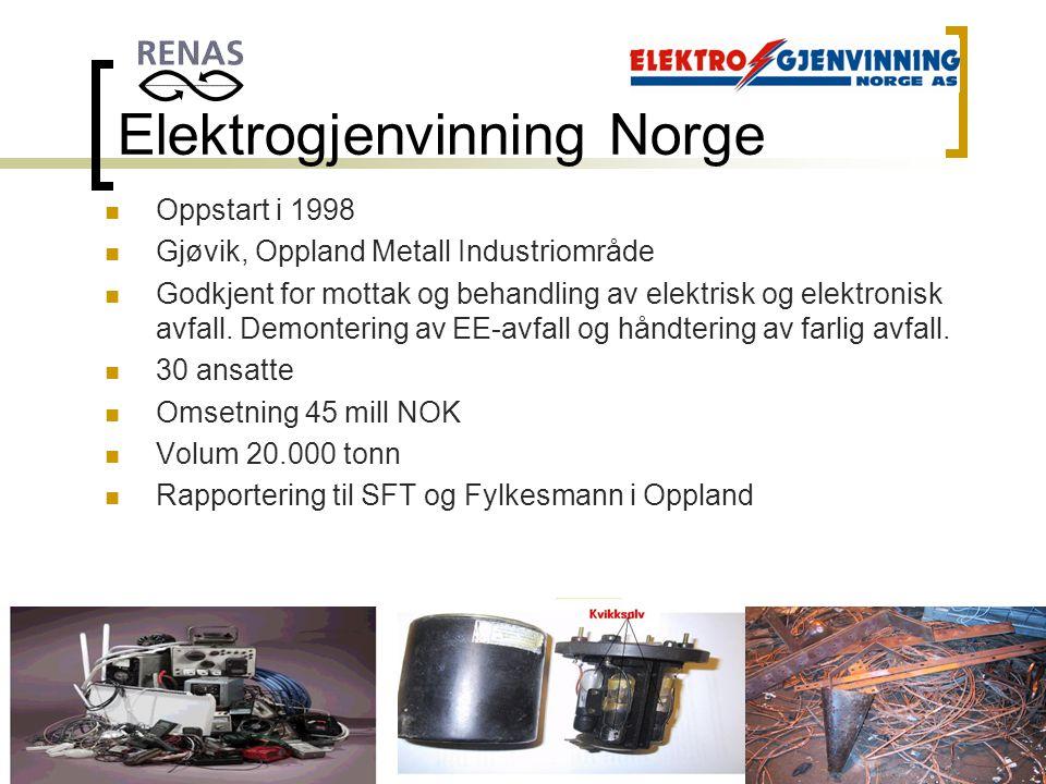 Oppland Metall AS, Postboks 46, 2801 Gjøvik. TLF:61187670. FAX:61170471 Elektrogjenvinning Norge Oppstart i 1998 Gjøvik, Oppland Metall Industriområde