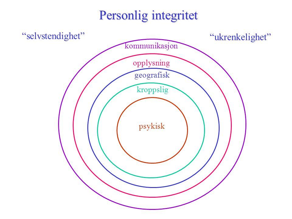 """Personlig integritet psykisk opplysning kroppslig geografisk kommunikasjon """"selvstendighet"""" """"ukrenkelighet"""""""