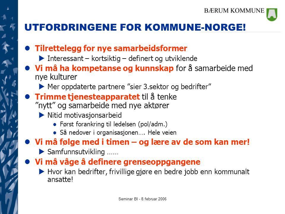Seminar BI - 8.februar 2006 UTFORDRINGENE FOR KOMMUNE-NORGE! lTilrettelegg for nye samarbeidsformer  Interessant – kortsiktig – definert og utviklend
