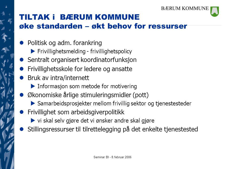 Seminar BI - 8.februar 2006 TILTAK i BÆRUM KOMMUNE øke standarden – økt behov for ressurser lPolitisk og adm. forankring  Frivillighetsmelding - friv