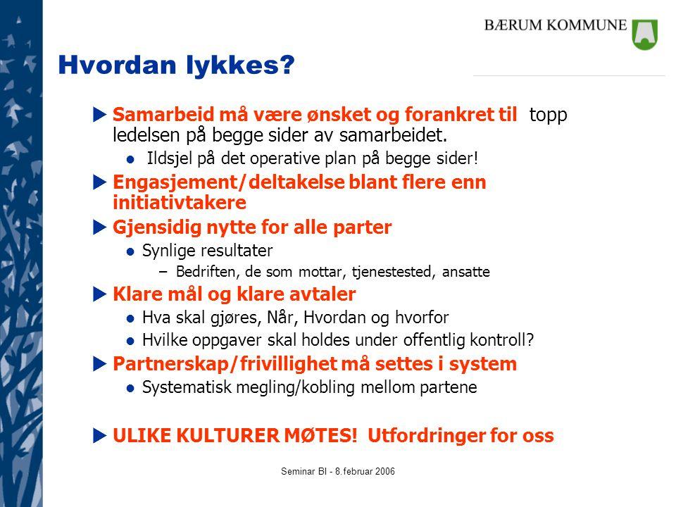 Seminar BI - 8.februar 2006 Hvordan lykkes.