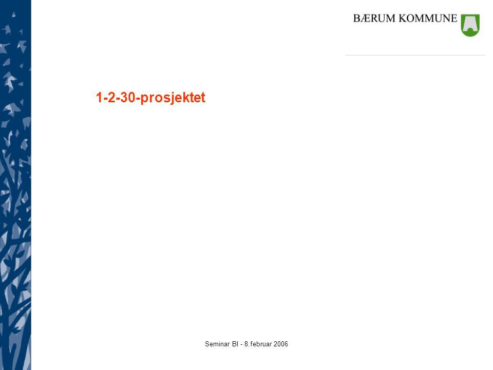 Seminar BI - 8.februar 2006 1-2-30-prosjektet