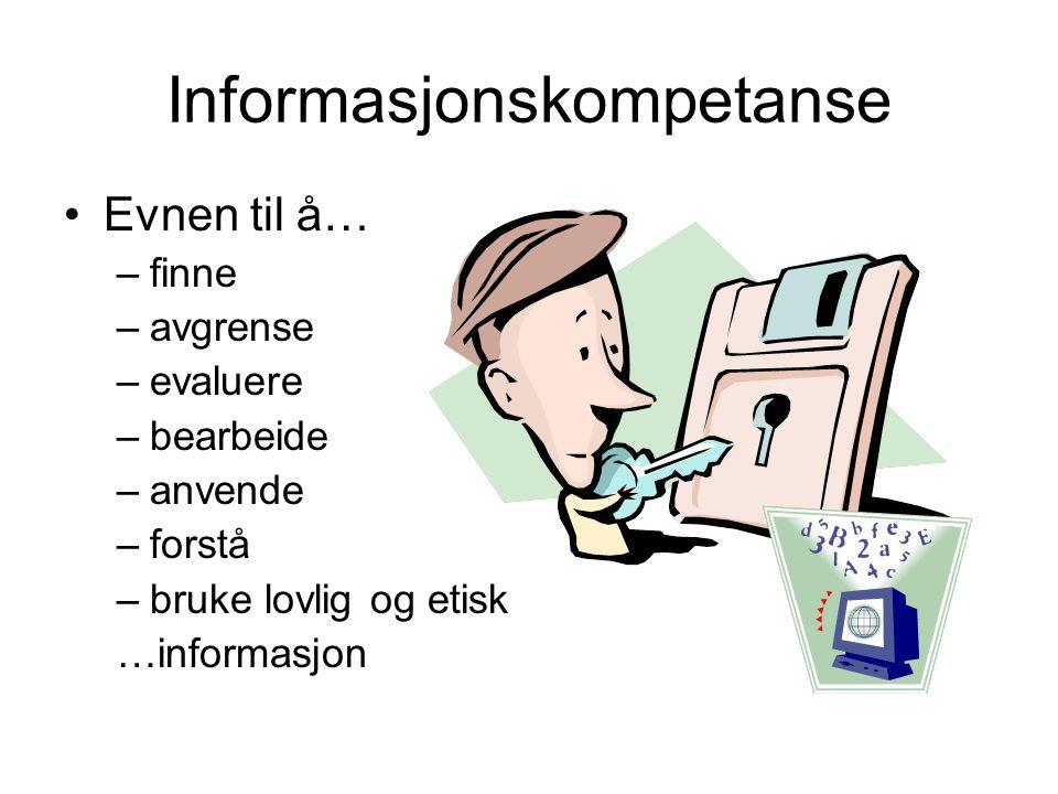 Informasjonskompetanse Evnen til å… –finne –avgrense –evaluere –bearbeide –anvende –forstå –bruke lovlig og etisk …informasjon