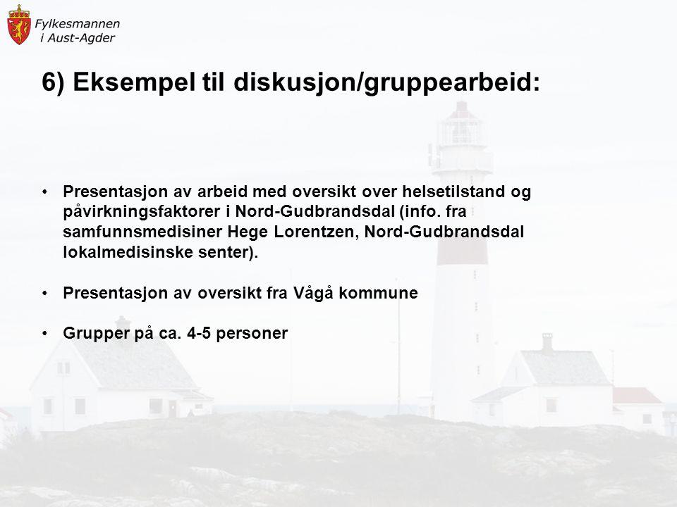 6) Eksempel til diskusjon/gruppearbeid: Presentasjon av arbeid med oversikt over helsetilstand og påvirkningsfaktorer i Nord-Gudbrandsdal (info. fra s