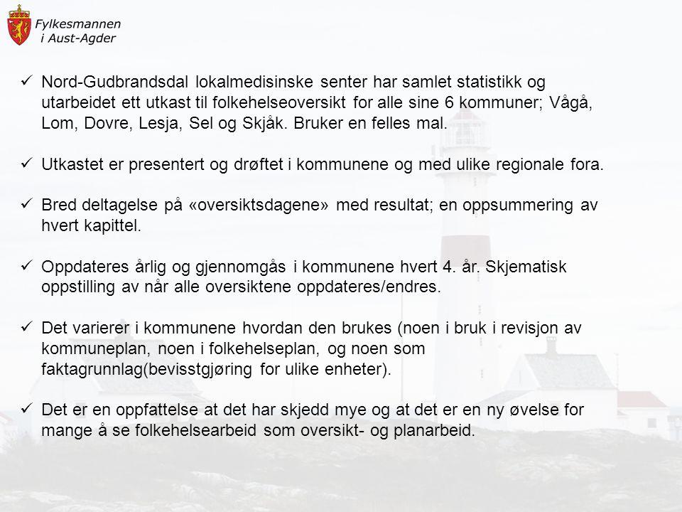 Nord-Gudbrandsdal lokalmedisinske senter har samlet statistikk og utarbeidet ett utkast til folkehelseoversikt for alle sine 6 kommuner; Vågå, Lom, Do