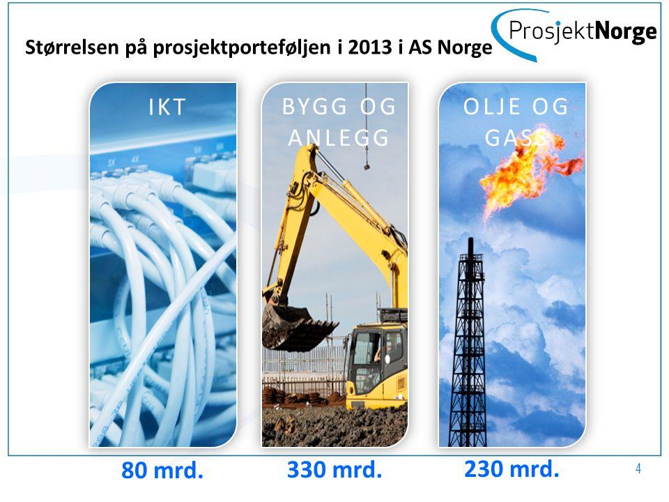 IKT BYGG OG ANLEGG OLJE OG GASS 330 mrd. Størrelsen på prosjektporteføljen i 2013 i AS Norge 80 mrd. 230 mrd. 4
