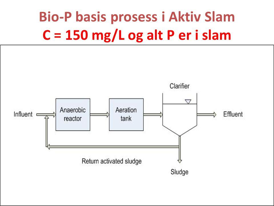 Bio-P basis prosess i Aktiv Slam C = 150 mg/L og alt P er i slam