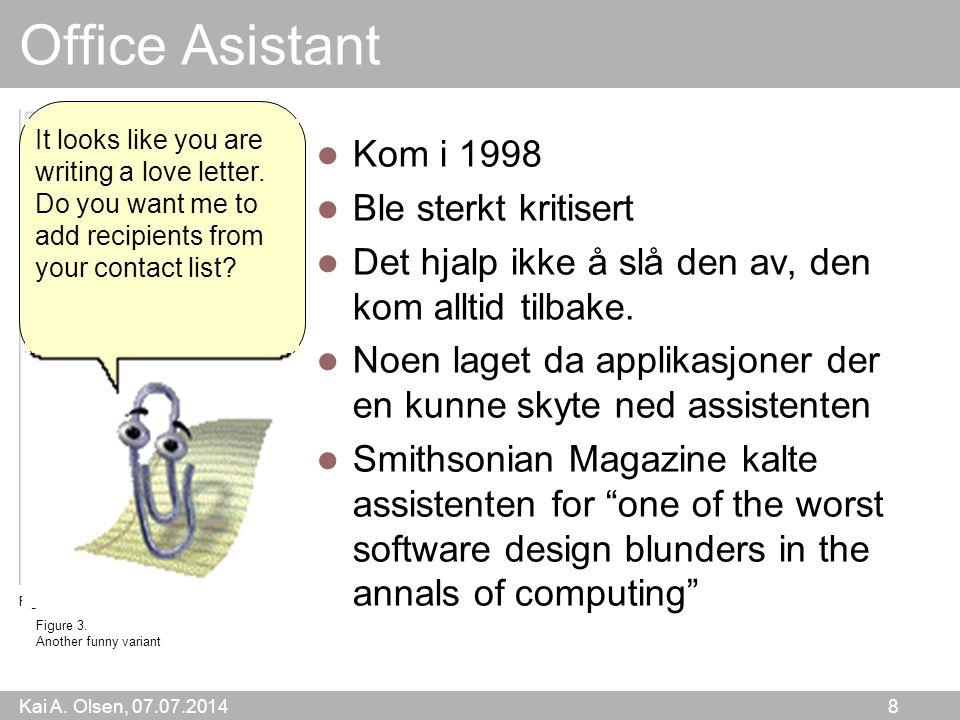 Kai A. Olsen, 07.07.2014 8 Office Asistant Kom i 1998 Ble sterkt kritisert Det hjalp ikke å slå den av, den kom alltid tilbake. Noen laget da applikas